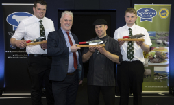Alan Clarke, Chief Executive of Quality Meat Scotland congratulations singles winner of the Butchers Wars competition Barry Green from Cairngorm Butchers at Grantown-on-Spey along with pairs winners Steven Cusack (far left) and Hamish Jones (far right) fr