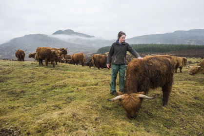 """Katrina Kennedy pictured with cattle on the family farm in Highland Perthshire. Katrina was one of the farmers who supported QMS's recent """"Know Your Beef"""" campaign."""