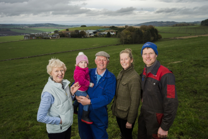 Hilltarvit Mains - Margaret & Ian Whitelaw holding grand-daughter Jessica with daughter-in-law Lucy & son John