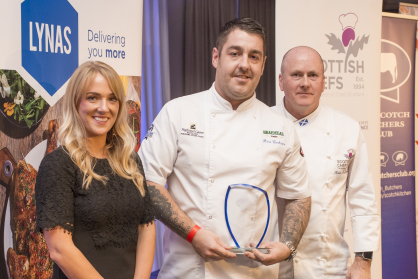 (l-r) Ciara El-Mansi of Quality Meat Scotland, Surf 'n' Turf winner Ross Cochrane from the Rothesay Rooms in Ballater and Kevin McGillivray from Scottish Chefs