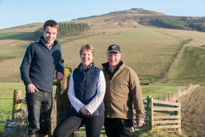 Stuart, Lesley and Robert Mitchell from Whitriggs Farm
