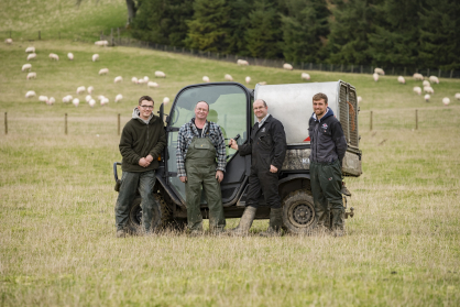 The Bowhill team: (l-r) Conall Fairburn (apprentice), John Falconer (upland flock shepherd), Sion Williams (farm manager) and Harry Aynsley (assistant farm manager)